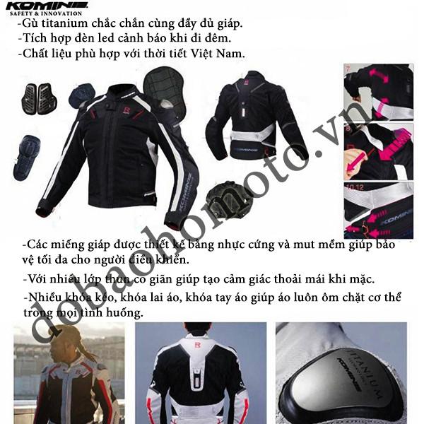Ao giap Komine JK 063 chat biker