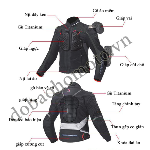 Ao giap Komine JK 063 chat biker - 2