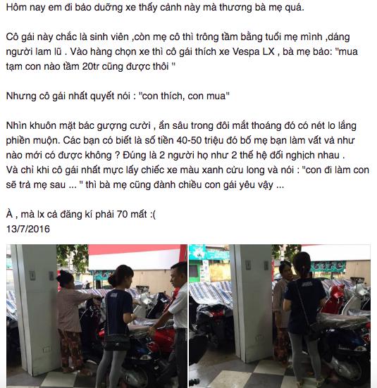 Cong dong mang tranh cai chuyen co gai nang nac doi me mua xe Vespa - 2