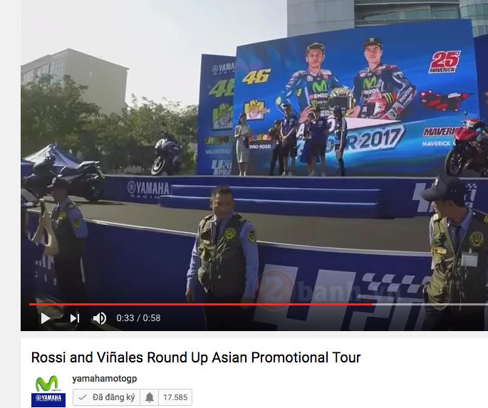 Hinh anh Rossi den Viet Nam da xuat hien tren trang chinh thuc cua Yamaha