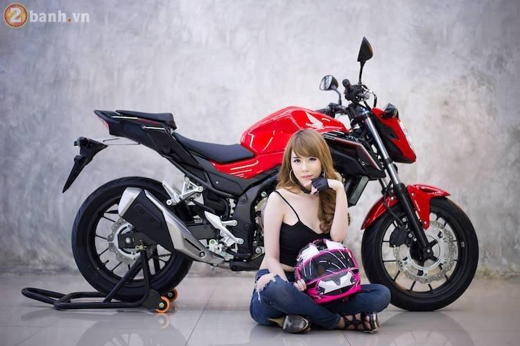 Hotgirl xinh dep tha dang day sexy ben canh Honda CB500F 2017 - 8