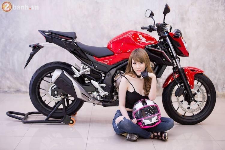 Hotgirl xinh dep tha dang day sexy ben canh Honda CB500F 2017 - 10