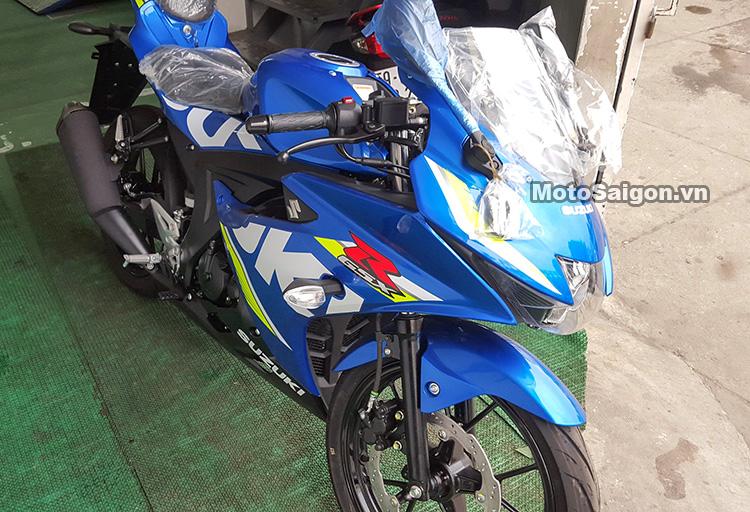 Mau sportbike co nho Suzuki GSXR150 chinh hang da ve den dai li voi gia de xuat 75 trieu dong