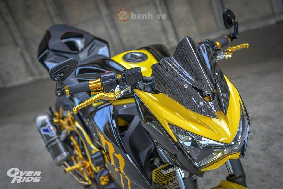 Kawasaki Z300 do noi loan cung phong cach Monster yellow - 3