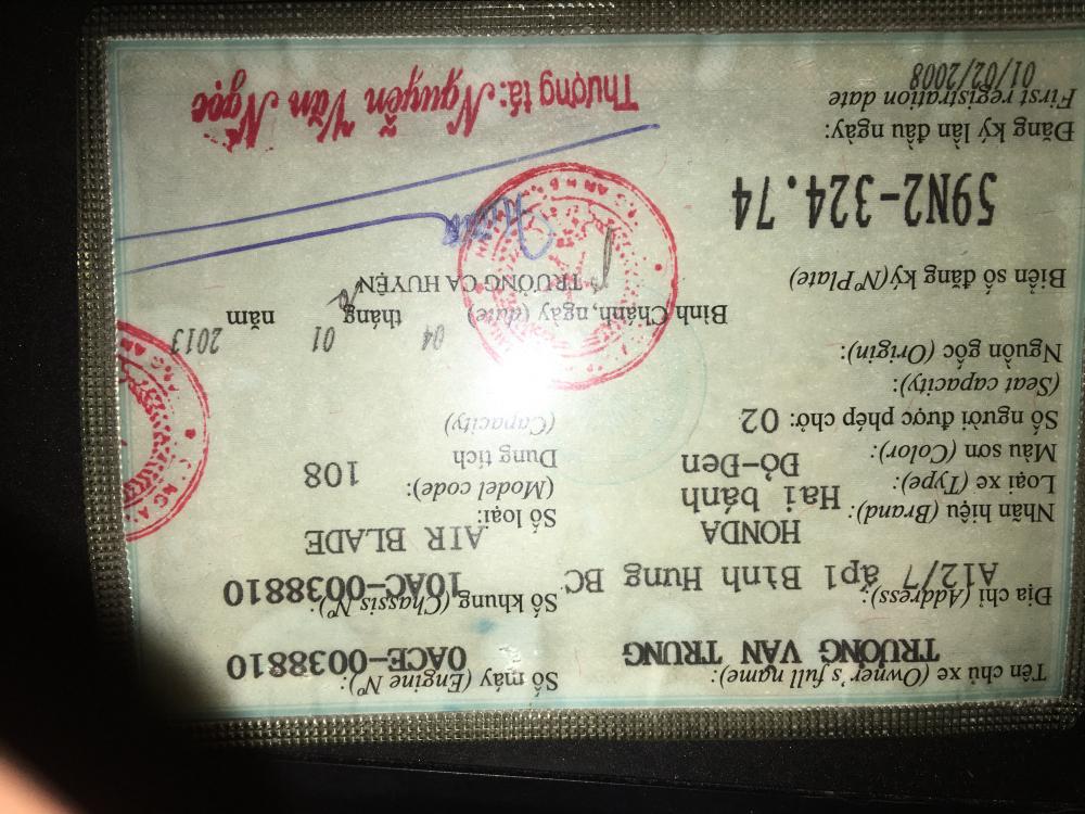 Can ban xe airblade thai 2007 binh xang con - 2
