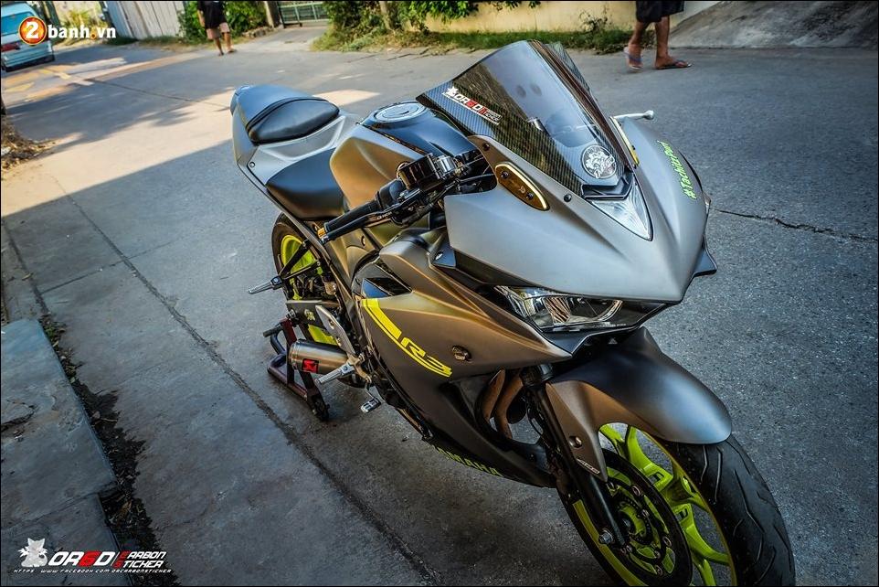 Yamaha R3 do day an tuong ben bo canh Matte Gray - 6