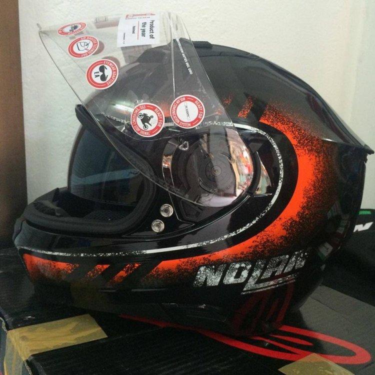 Motobox299 Nolan N87 Fulgor Metal Black Orange su cuon hut cua kim loai den