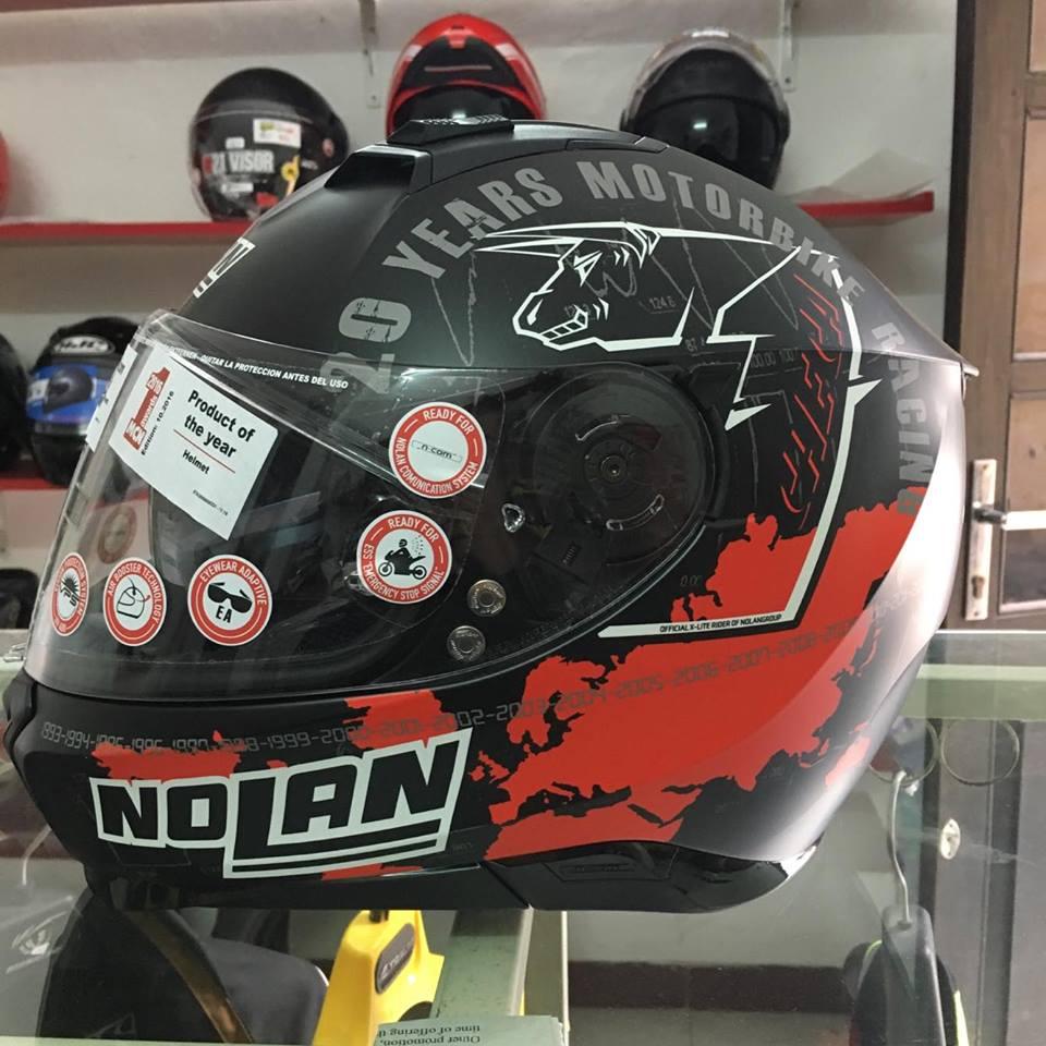 motobox Nolan N87 Checa Flat Black 34 den cham do - 2