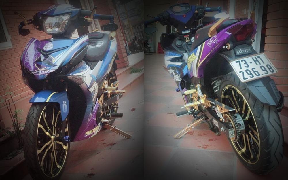 Exciter 150 do chu ca map hung ton voi dan chan co bap cua biker Quang Binh