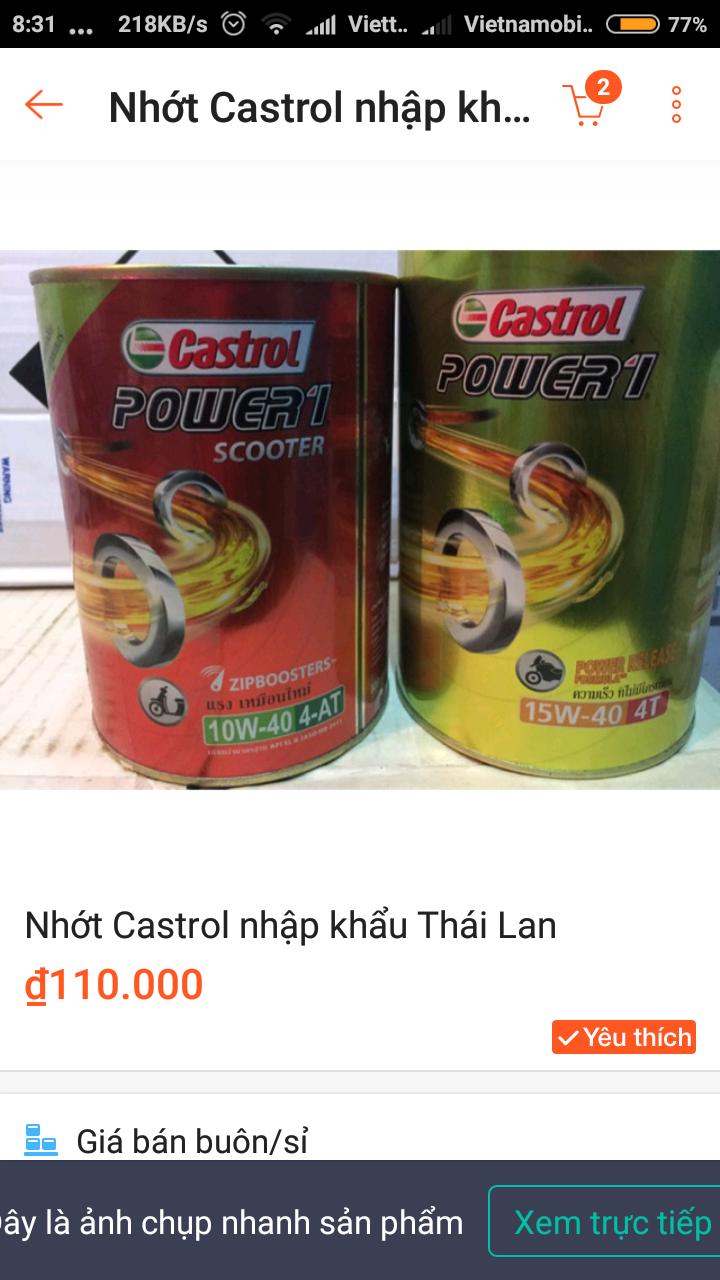 Nhot Castrol lon nhom Thailand la do gia dung khong aem