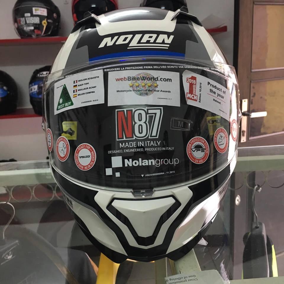 motobox Nolan N87 Metal White 43 vien xanh