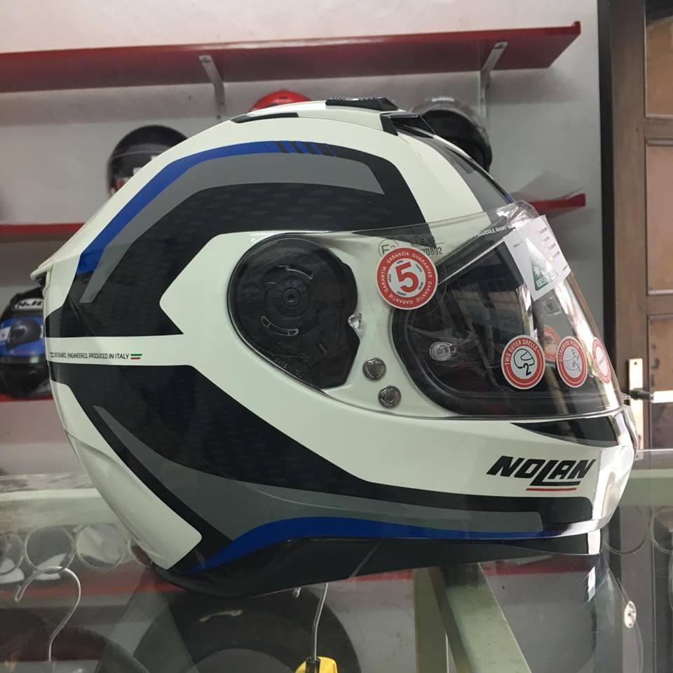 motobox Nolan N87 Metal White 43 vien xanh - 4