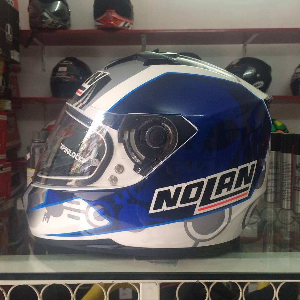 motobox Nolan N64 Metal White Blue xanh trang