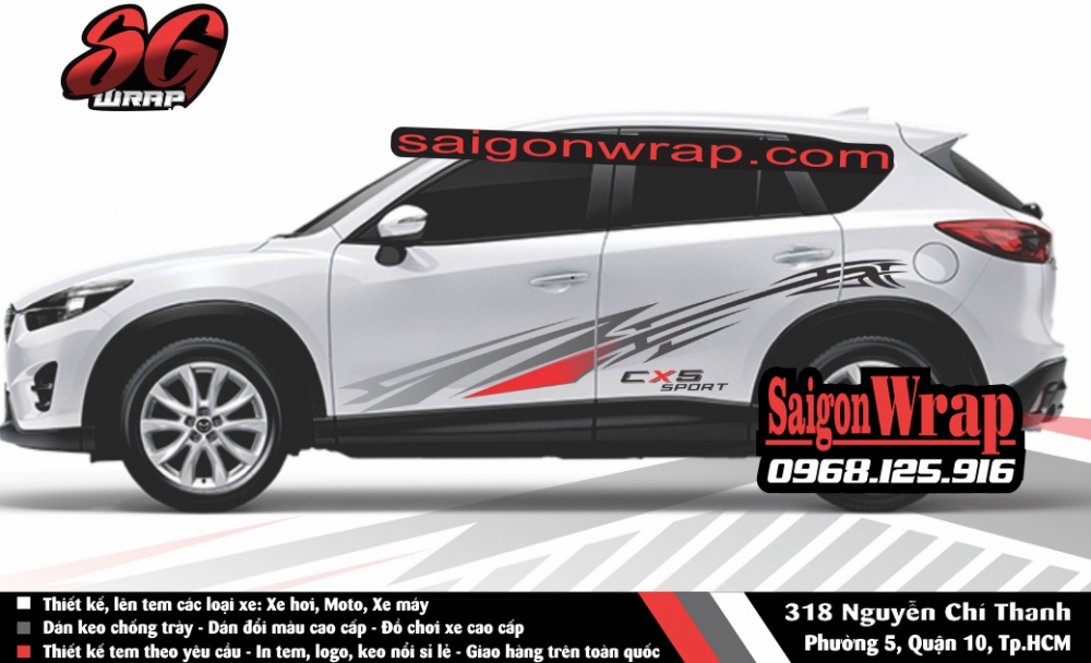 Tem Xe Mitsubishi Pajero Sport Kia Sorento Audi Q7 Isuzu MuX Lexus LX570 SaiGonWRAP - 11
