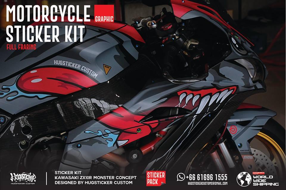 Kawasaki ZX10R ban do sang gia voi mau ao Monster - 4