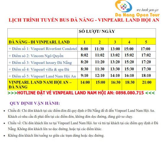 Lich trinh xe Bus Da Nang Vinpearl Land Nam Hoi An