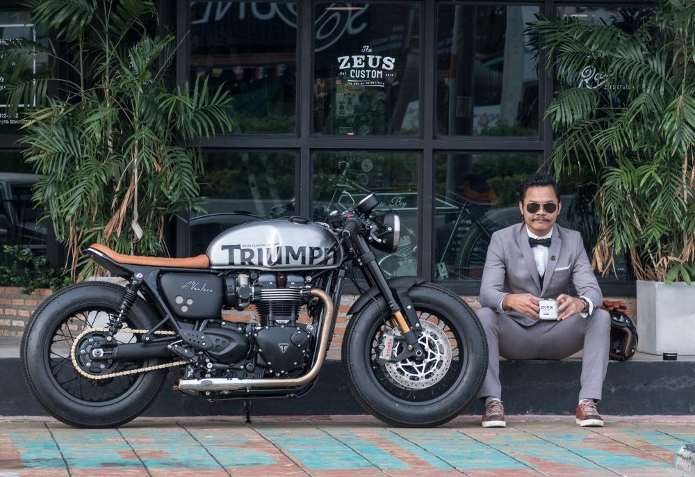 Triumph Thruxton 1200 R ban do Cafe Racer den tu Zeus Custom