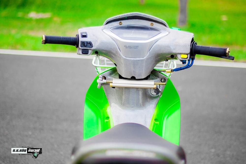 Wave 125 do chu ket xanh la thua huong dong ho tu mau xe minibike - 5