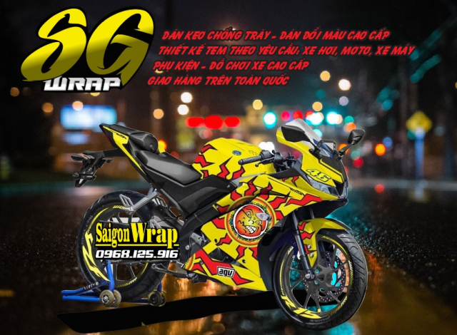 Tem Che Yamaha R15 V3 Dep Doc SaiGonWRAP Design Thi Cong Tem Xe Chuyen Nghiep - 12