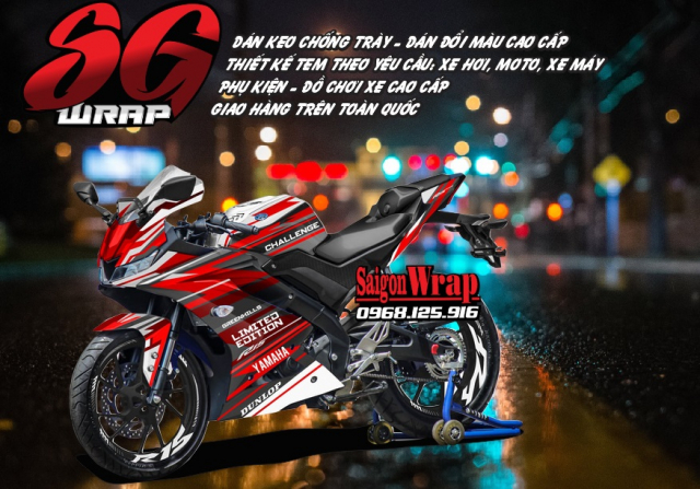 Tem Che Yamaha R15 V3 Dep Doc SaiGonWRAP Design Thi Cong Tem Xe Chuyen Nghiep - 37