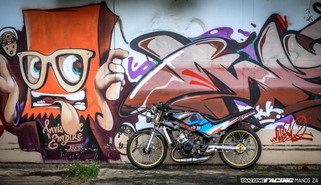 Ha hoc voi Kawasaki Victor 150 do dinh khoe dang ben son Grunge Graffiti
