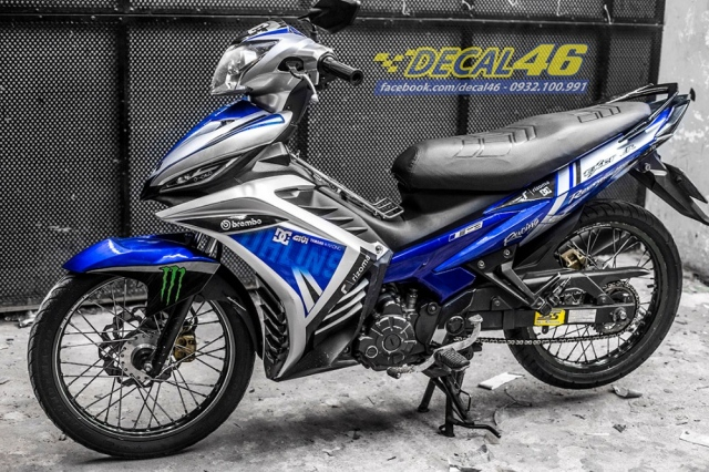 Tem xe Exciter 135 Ohlins candy xanh trang tai Decal 46 - 3