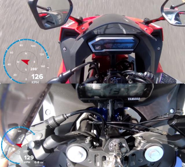 CLIP So sanh Maxspeed bang GPS giua R15 V3 CBR150R do biker thuc hien - 6