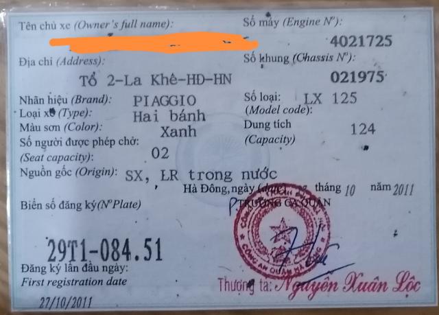 Ban xe LX125 dang ky 2011 175 tr - 2