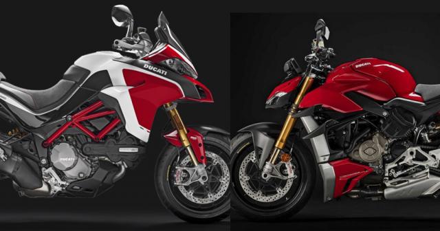 Lo anh Ducati dang thu nghiem Streetfighter V2 va Multistrada V4 Pike Peak
