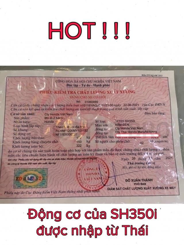 SH350i Viet Nam dung dong co nhap tu Thai Lan vuot troi hon SH350i nhap Y - 3